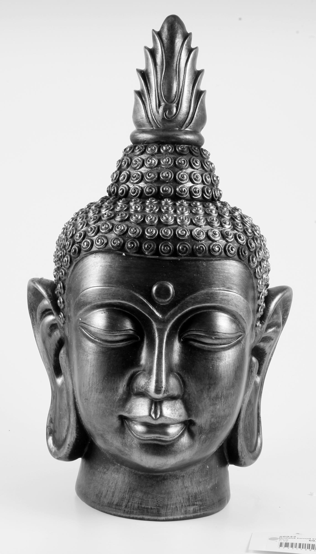 buddha huvud silver