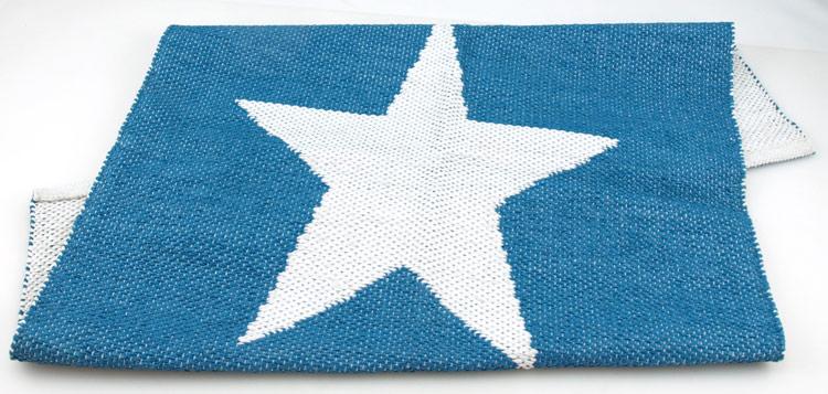 blå matta med stjärnor